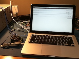 Arduino with Audioino and a MacBook running Safari and Avrian Jump
